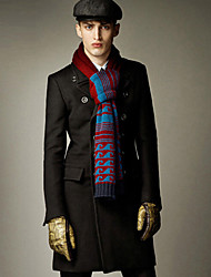 moda lapela pescoço dupla mama bodycon cor sólida casaco de lã dos homens