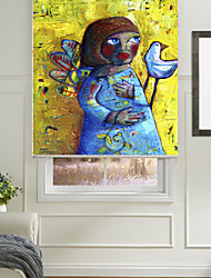 Oil Painting Style Abstract Lonely Child Roller Shade
