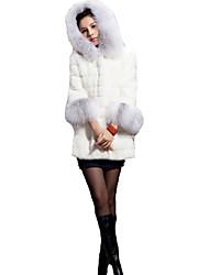 coko&falso abrigo de cuello de piel de _4 blanco
