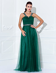 Formal Evening / Prom / Military Ball Dress - Dark Green Plus Sizes / Petite Sheath/Column Halter / Straps Floor-length Tulle