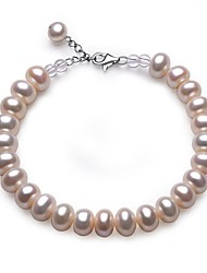 BRI.R® Fashion  S925 Silver Clasp 8-9mm Natural Round Pearl with White Crystal  Bracelet - 7'' with 0.7'' Thail Chain