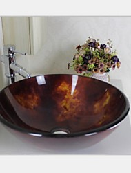 Contemporary Flaming  Fashion Tempered Glass Vessel Sink With Faucet Set