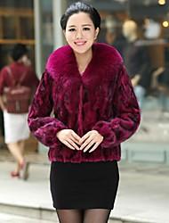 Zijindiao® Women's Genuine Natural Mink Fur Coat with Fox Fur Collar
