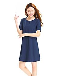 Women's Fashion Round Collar Short Sleeve Bodycon Dress