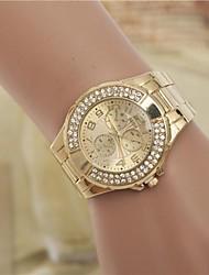 moda femenina rhinestones reloj de pulsera de cuarzo correa de acero