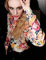 Joanna chiffon impressão flores shirt cabido (vermelho)