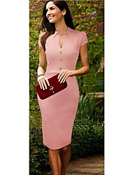 GGN Women's Sexy Round Neck Elegant Button Bodycon Knee Length Dress