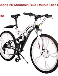 Mountain Bike Cycling 21 Speed 26 Inch/700CC Unisex Double Disc Brake Springer Fork Rear Suspension Ordinary/Standard Steel