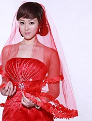 Wedding Veil One-tier Elbow Veils / Headpieces with Veil 59.06 in (150cm) Organza Red