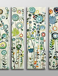 Hand Painted Floral  Oil Painting with Stretched Frame Set of 4