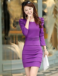 Women's Round Collar Puff Sleeve Bodycon Dress (More Colors)