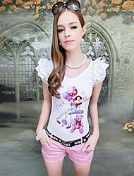 Women's Character White T-shirt , V Neck Short Sleeve Ruffle