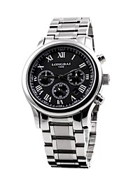 Men's Calendar Analog Round Dial Stainless Steel Band Quartz Watch(Assorted Colors)