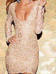 Women's Scalloped Deep V Backless Lace Bodycon Sexy Dress