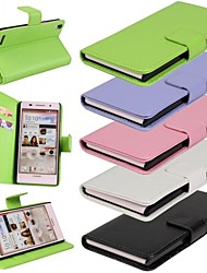 Solid Color Pattern PU Leather Full Body Cover with Card and Stand Slot for Huawei P6 (Assorted Colors)