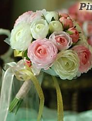 """Bouquets de Noiva Redondo Rosas Buquês Casamento / Festa / noite Algodão / Seda 7.87""""(Aprox.20cm)"""