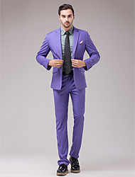Suits Slim Fit Slim Notch Single Breasted One-button 2 Pieces Lavender Slanted Flapped