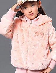 Lovely Hooded Beads Embellished Zip Coat Pink