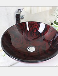 Heat Red Roses Tempered Glass Vessel Sink With Hot And Cold Faucet Set