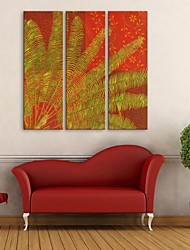 E-HOME® Stretched Canvas Art Leaf Decorative Painting  Set of 3