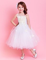 Kids' Dancewear Dresses Tutus Children's Training Polyester Tulle Sash/Ribbon Flower(s) Sleeveless Natural