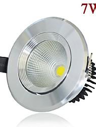 7w 630lm LED COB témoin de plafond blanc / blanc chaud LED Downlight couleur argent AC85-265V