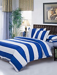 Mingjie Stripe Blue and White Sanding Bedding Sets 4pcs Duvet Cover Sets Bed Linen China Queen Size and Full Size