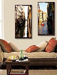 e-HOME estiró arte canal ciudad set pintura decorativa lienzo de 2