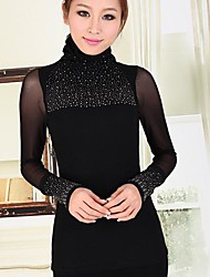 Women's Lace/Solid Black Blouse , Turtleneck Long Sleeve Beaded/Mesh