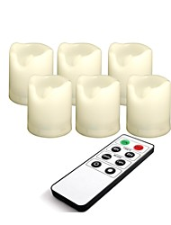 Set of 6 Ivory Color Plastic LED Votive Candles (Flameless Candles) with Remote and Timer