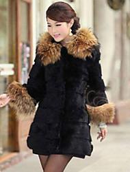 · c · un e&f poil long manteau col des femmes