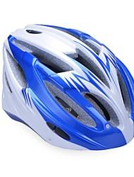 высокой воздухопроницаемостью PC + EPS черный велосипедный шлем со съемным солнцезащитный козырек (17 отверстия) - синий + серебро