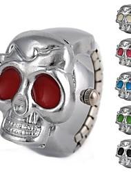 motif de crâne unisexe cadran blanc anneau analogique alliage de montre à quartz (couleurs assorties)