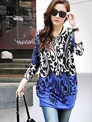 Women's Print Blue T-shirt Long Sleeve