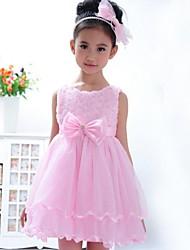 rosa de la niña se levantó de flores arco del partido de Tulle del desfile de la boda vestidos de ropa niños princesa