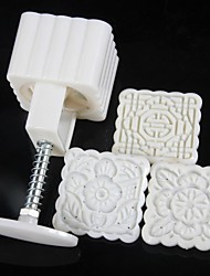 3 Pieces of Quadrate Flower Moon Cake Mould