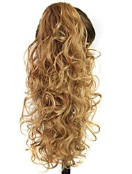 Claw Clip Synthetic 20 Inch Golden Brown Long Curly Ponytail