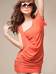 Newly Charming Elegant Pure Color Dress Orange