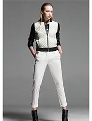 PU coton de remplissage de couture veste en faux cuir de femmes veste courte