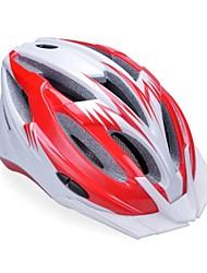высокой воздухопроницаемостью PC + EPS черный велосипедный шлем со съемным солнцезащитный козырек (17 отверстия) - красный + серебристый
