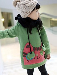 Girl's Lovely Cartoon Cat Fleece Lining Hoodies