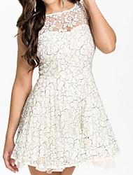 blanco vestido de skater de encaje princesa bonita de la mujer