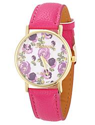 mulheres de couro Tomono padrão de flor pu vestir relógio (corda)