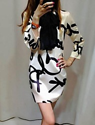 Women's Print White Dress , Casual/Print/Party Round Neck ¾ Sleeve