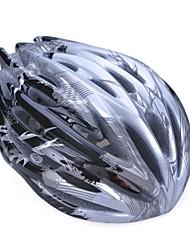 moda unisex y de alta transpirabilidad pc + epp casco de bicicleta (32vents) - negro + plata