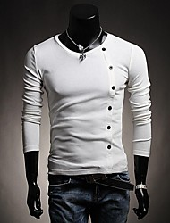 Men's Long Sleeve T-Shirt , Cotton/Knitwear Casual/Sport Pure