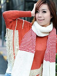One Xuan Women's Candy-Colored National Style Long Tassel Knitted Scarf  Thick Warm Knitted Scarf