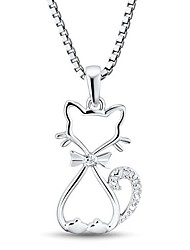 Women's Fashion Cat Shape Cubic Zirconia Platinum-Plated Sterling Silver Necklace
