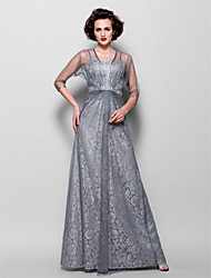 A-line Plus Sizes Mother of the Bride Dress - Silver Floor-length 3/4 Length Sleeve Tulle/Lace