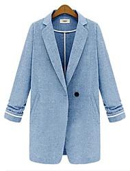 Women's Fall Blazer,Solid Long Sleeve Blue / Gray Cotton Medium